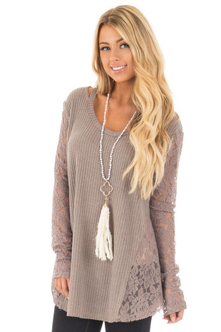 Coco Thermal Knit Top with Sheer Lace Contrast front close up