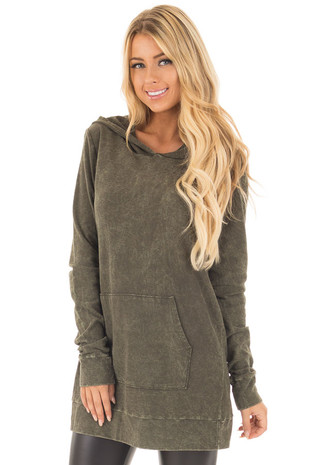 Olive Washed Knit Hoodie with Front Pocket front close up