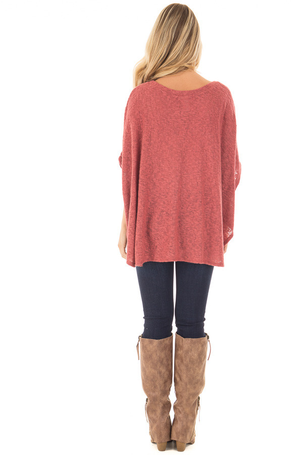 Brick Red Knit Loose Fit Poncho back full body