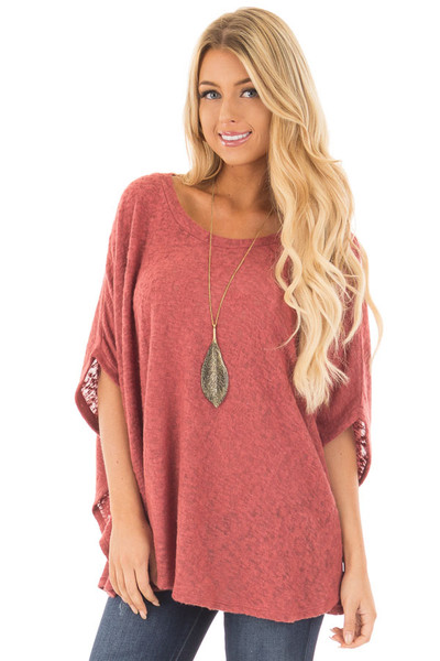 Brick Red Knit Loose Fit Poncho front close up