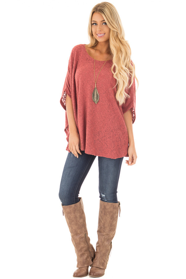 Brick Red Knit Loose Fit Poncho front full body