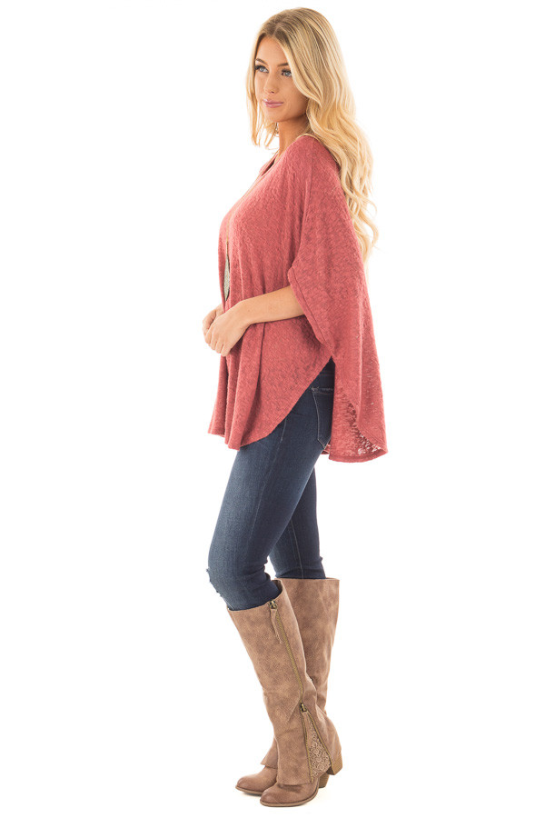 Brick Red Knit Loose Fit Poncho side full body