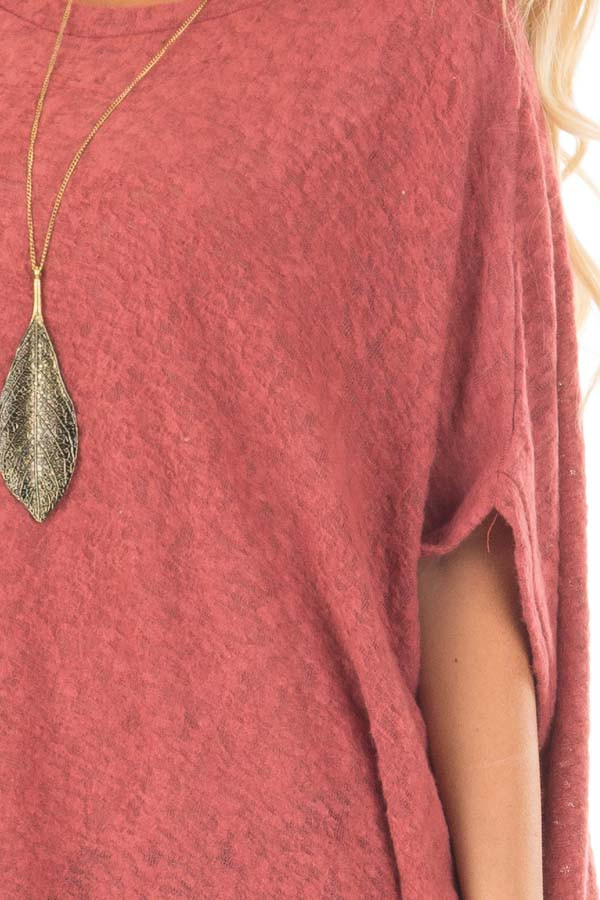 Brick Red Knit Loose Fit Poncho detail