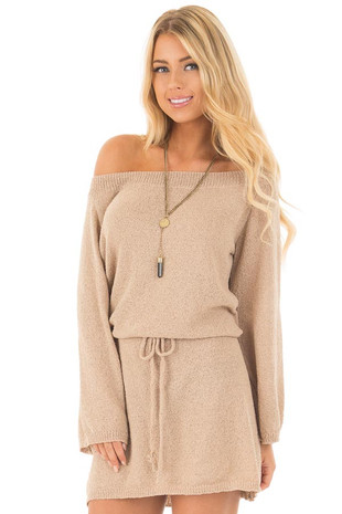 Taupe Off the Shoulder Knit Sweater Dress front close up