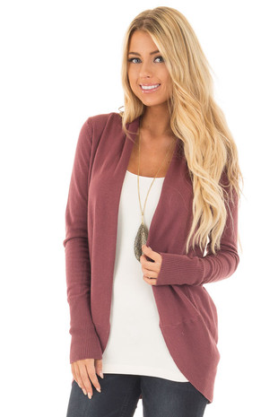 Maroon Super Soft Long Sleeve Open Cardigan front close up