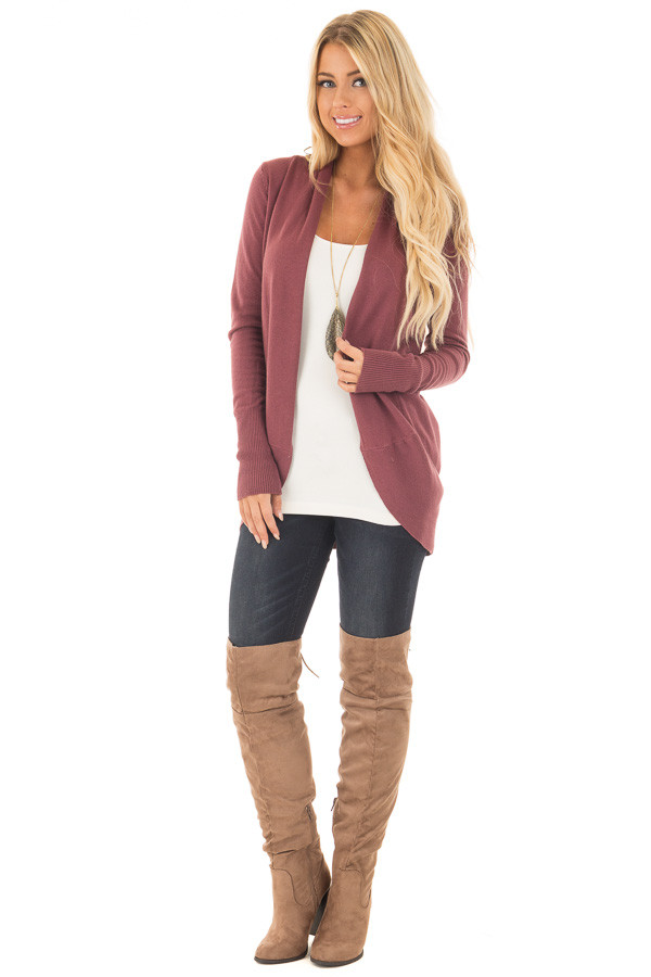 Maroon Super Soft Long Sleeve Open Cardigan | Lime Lush
