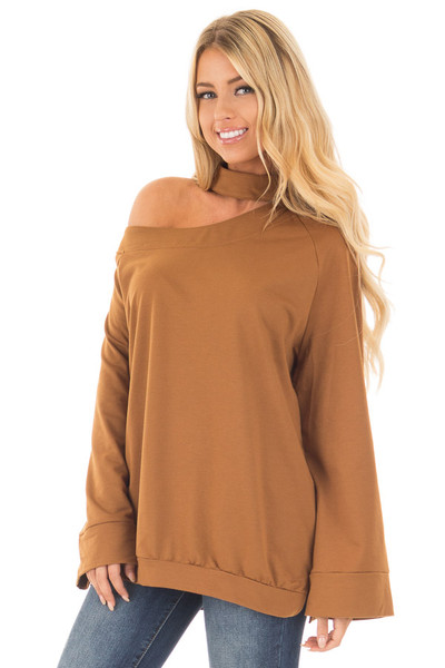 Bronze Bare Shoulder Sweater with Mock Neck Choker front close up