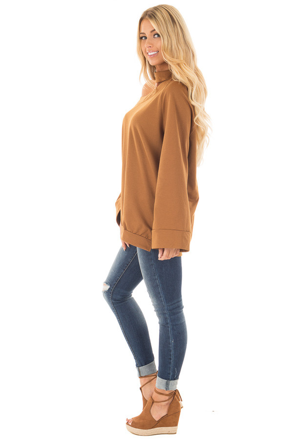 Bronze Bare Shoulder Sweater with Mock Neck Choker side full body