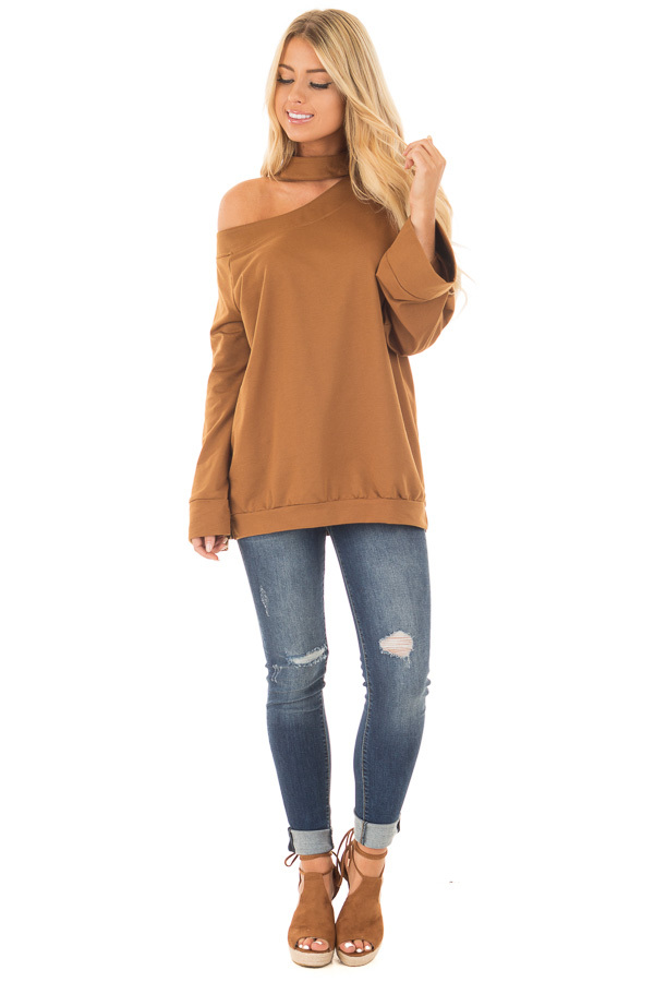 Bronze Bare Shoulder Sweater with Mock Neck Choker front full body