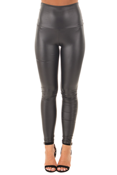 Black Skinny High Waisted Faux Leather Leggings front view