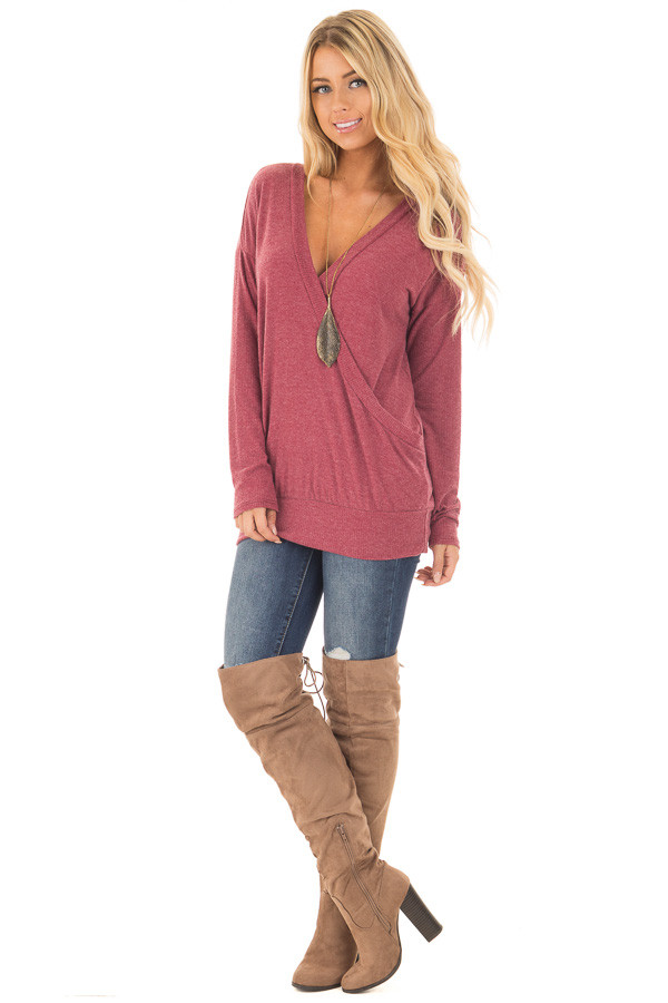 Brick Red Surplice Knit Top with Ribbed Contrast front full body