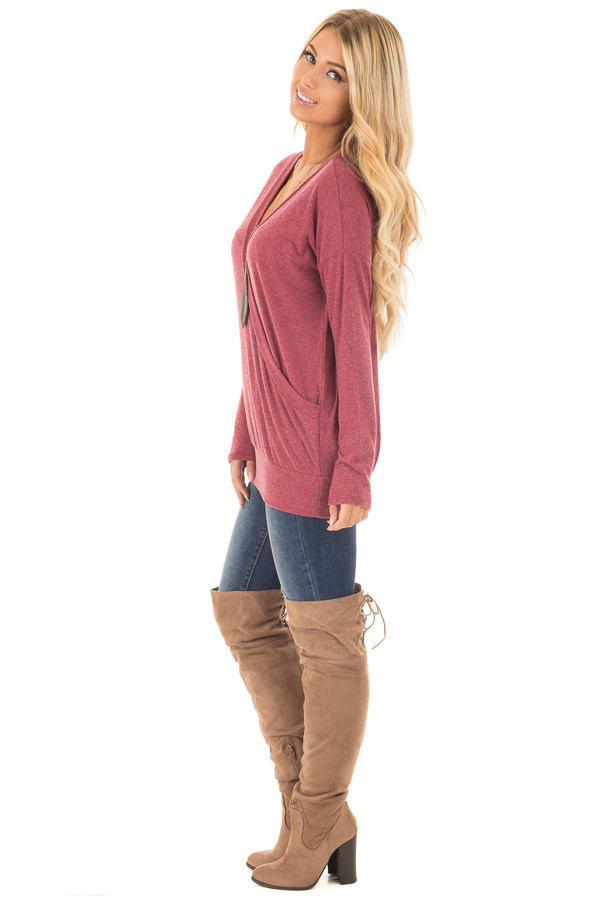 Brick Red Surplice Knit Top with Ribbed Contrast side full body