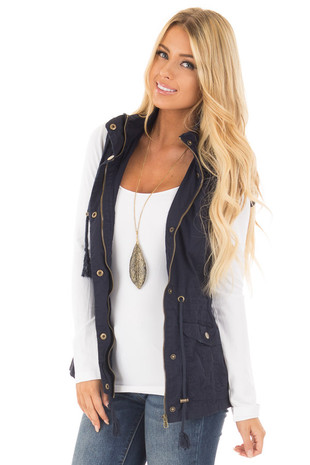 Navy Woven Vest with Drawstring Waist front close up