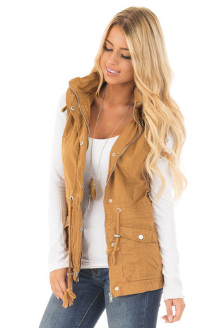 Camel Woven Vest with Drawstring Waist front close up