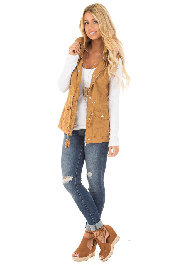 Camel Woven Vest with Drawstring Waist front full body