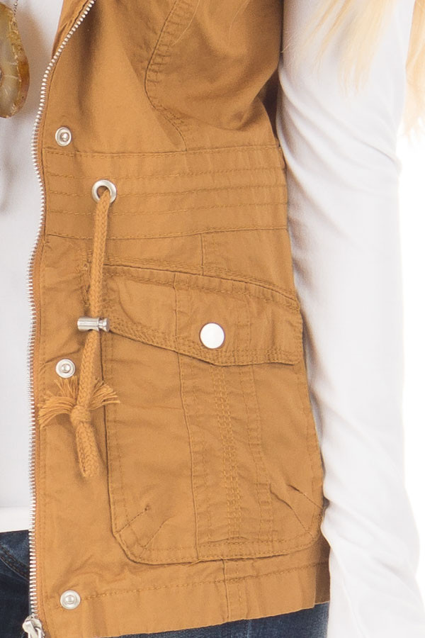 Camel Woven Vest with Drawstring Waist detail