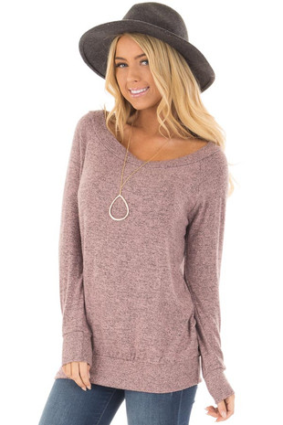 Rose Two Toned Knit Long Sleeve Off the Shoulder Top front close up