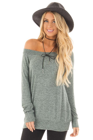 Sage Two Toned Knit Long Sleeve Off the Shoulder Top front close up