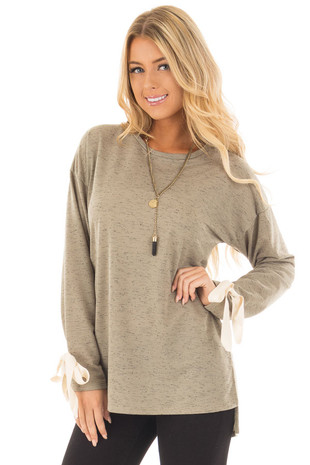 Olive Knit Long Sleeve Top with Cream Bow Details front close up