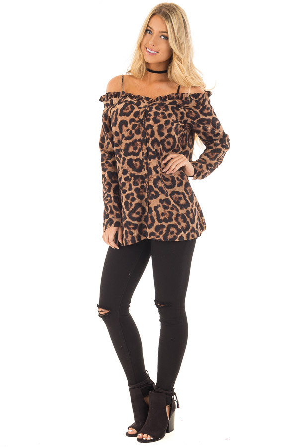 Leopard Print Crepe Button Down Blouse front full body