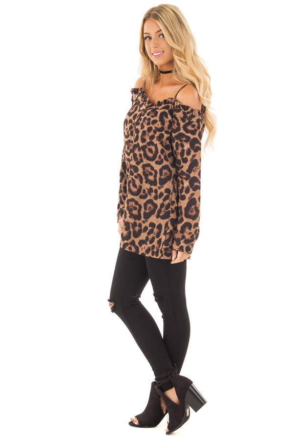 Leopard Print Crepe Button Down Blouse side full body
