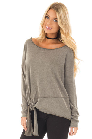 Olive Long Sleeve Top with Tie Detail front close up