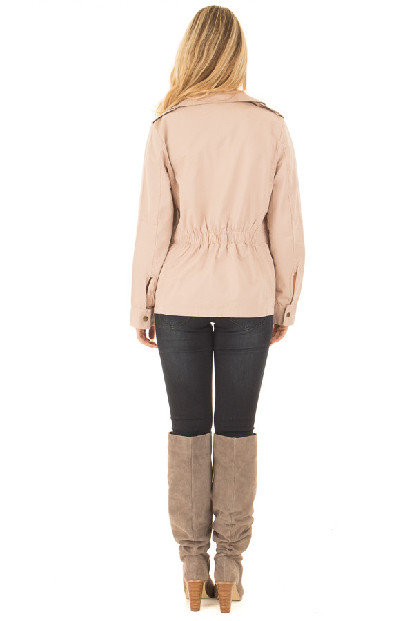 Blush Collared Zip Up Cargo Jacket back full body