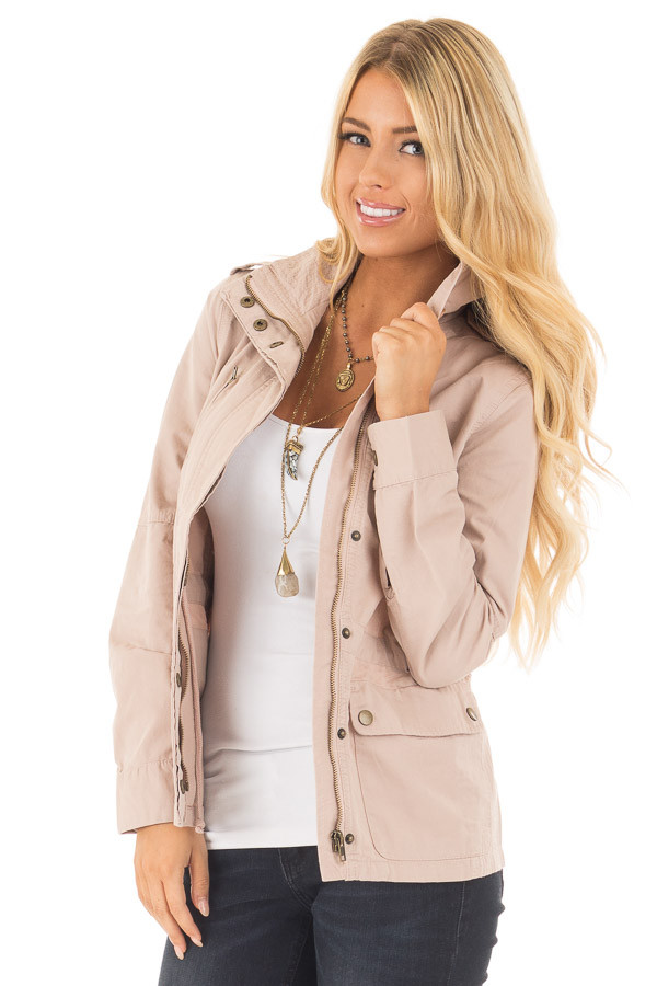Blush Collared Zip Up Cargo Jacket front close up
