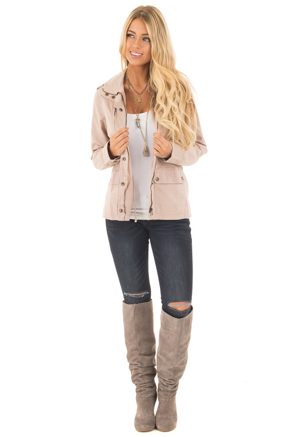 Blush Collared Zip Up Cargo Jacket front full body