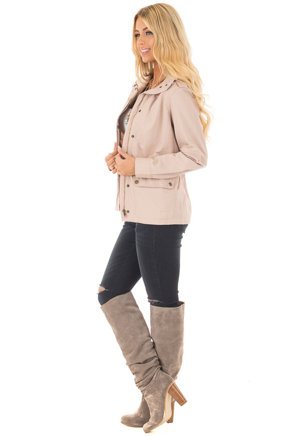 Blush Collared Zip Up Cargo Jacket side full body