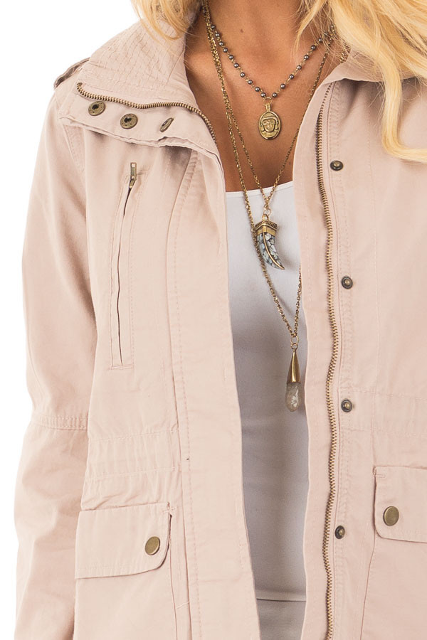 Blush Collared Zip Up Cargo Jacket detail