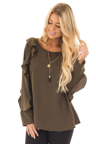Olive Long Sleeve Blouse with Ruffle Details front close up