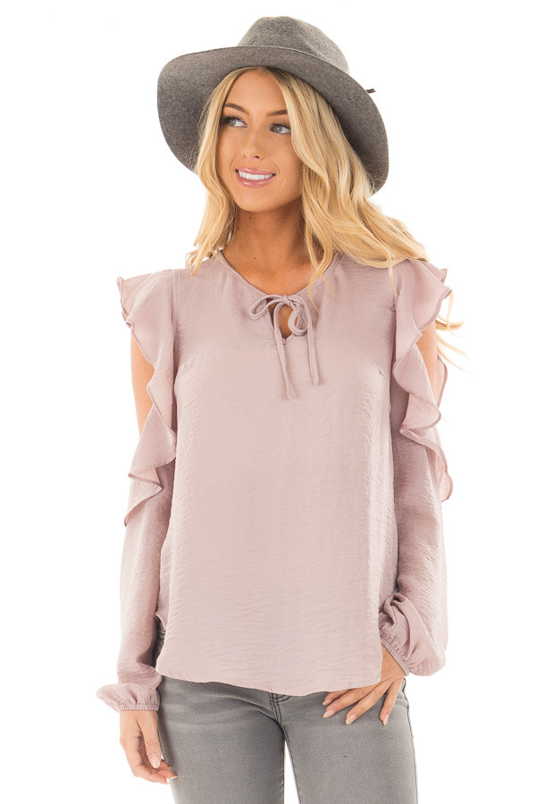 Mauve Cold Shoulder Ruffle Sleeve Keyhole Top front close up