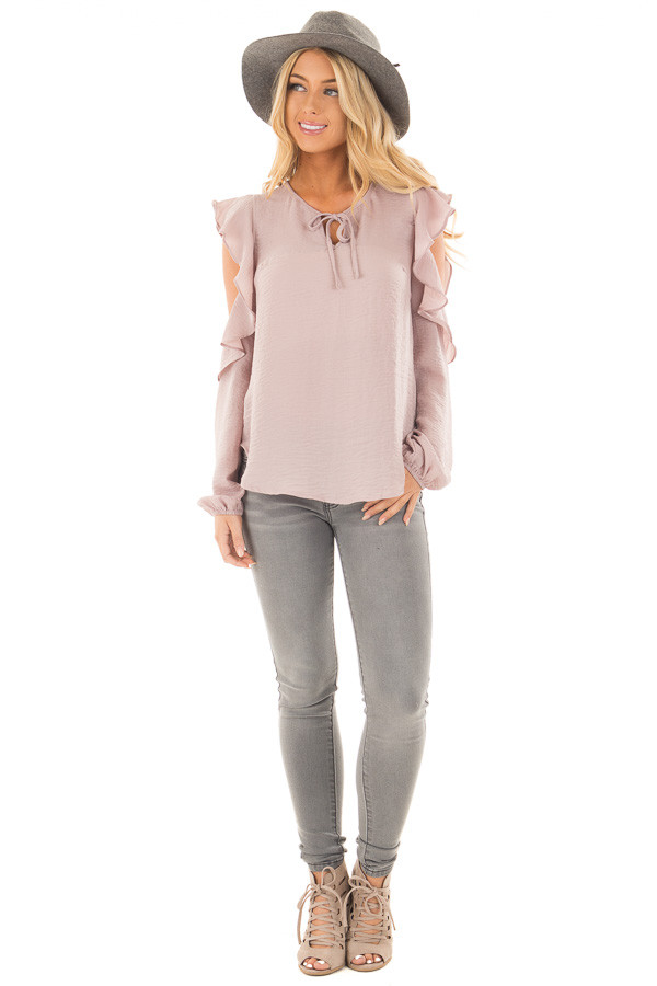 Mauve Cold Shoulder Ruffle Sleeve Keyhole Top front full body