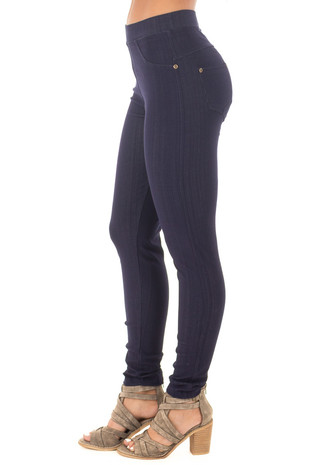 Dark Denim Blue Leggings side right leg