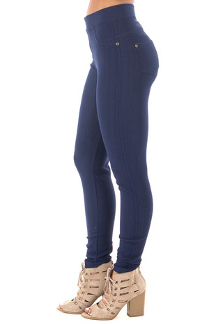 True Blue Denim Style Leggings side right leg