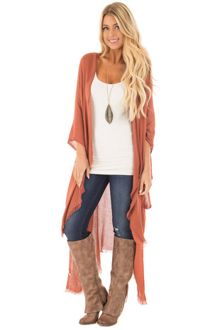 Brick Open Grid Frayed Trim Kimono with Armholes front close up