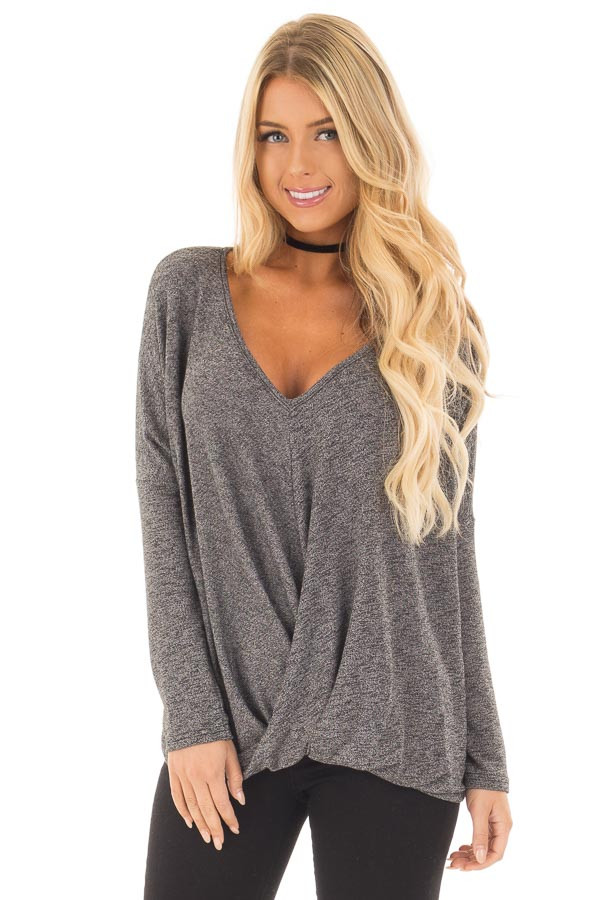 Charcoal Two Tone Crossover Drape Long Sleeve Top front close up