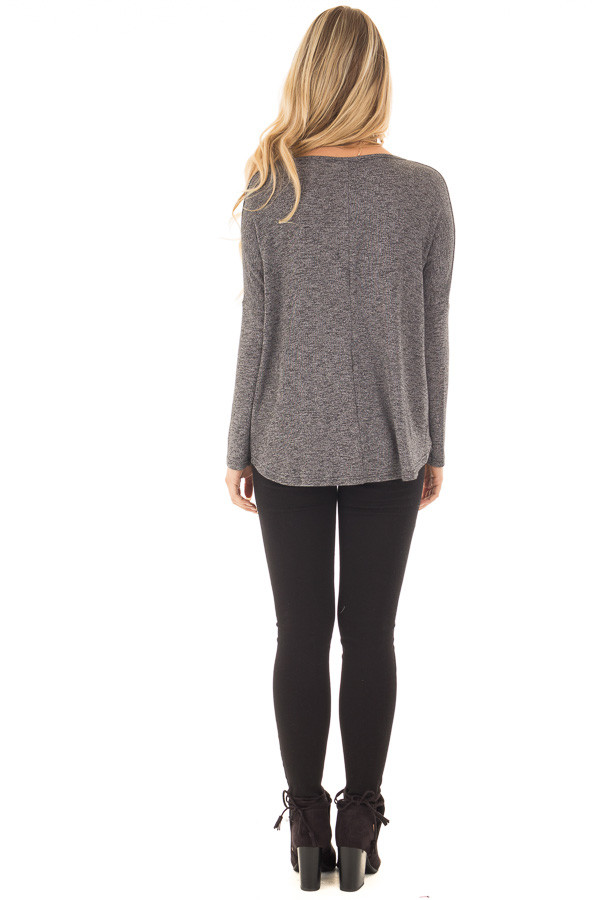Charcoal Two Tone Crossover Drape Long Sleeve Top back full body
