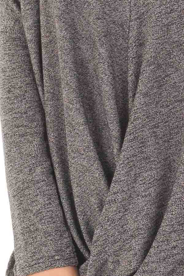 Charcoal Two Tone Crossover Drape Long Sleeve Top detail