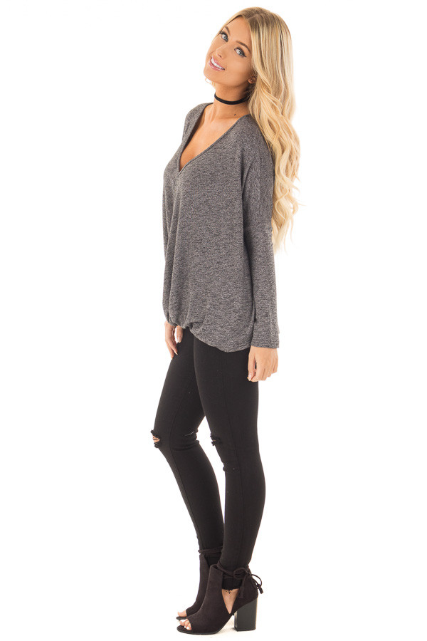 Charcoal Two Tone Crossover Drape Long Sleeve Top side full body