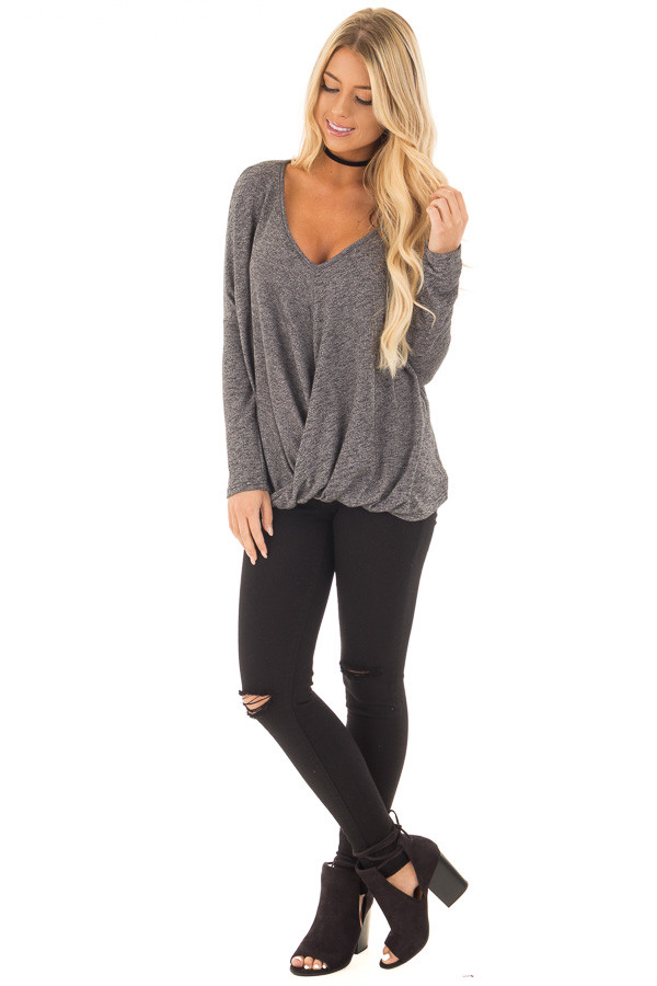 Charcoal Two Tone Crossover Drape Long Sleeve Top front full body