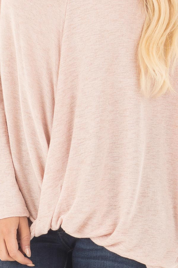 Light Rose Two Tone Crossover Drape Long Sleeve Top detail