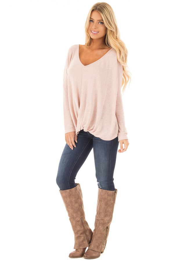 Light Rose Two Tone Crossover Drape Long Sleeve Top front full body