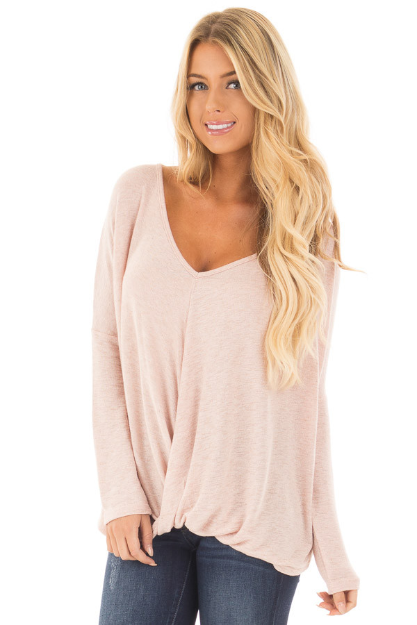 Light Rose Two Tone Crossover Drape Long Sleeve Top front close up