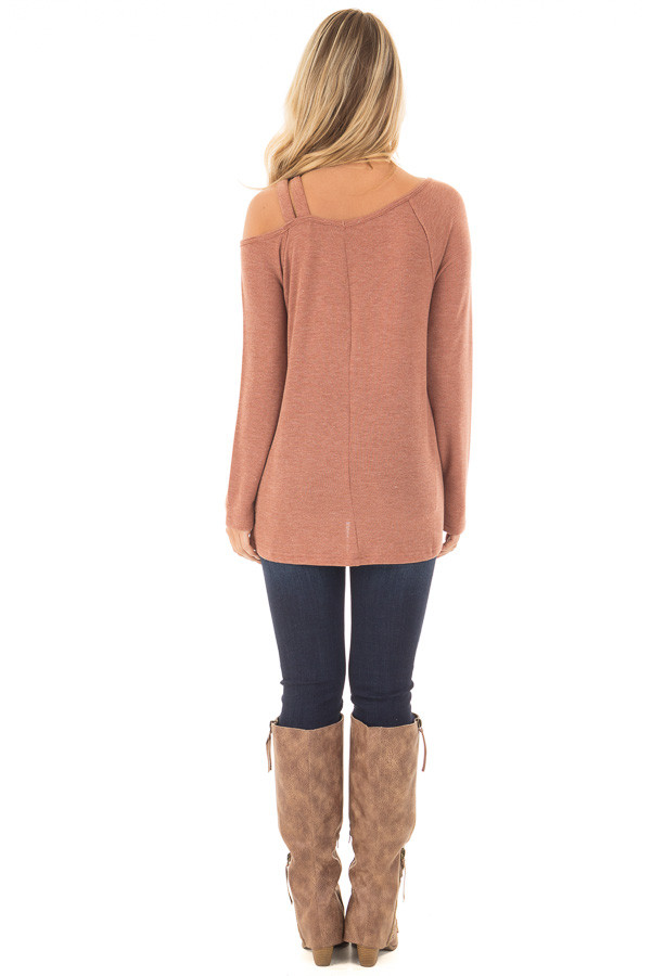 Cinnamon Long Sleeve Top with Double Strap Cold Shoulder back full body