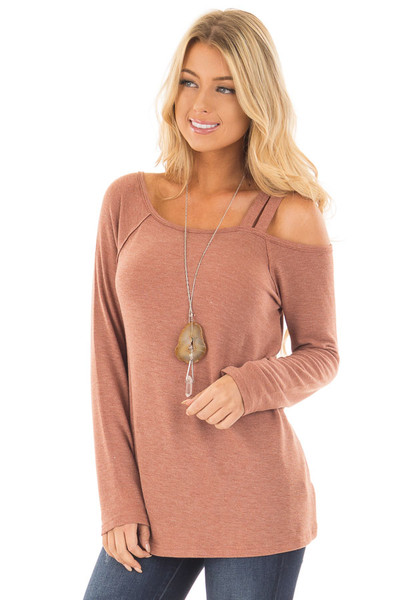 Cinnamon Long Sleeve Top with Double Strap Cold Shoulder front close up