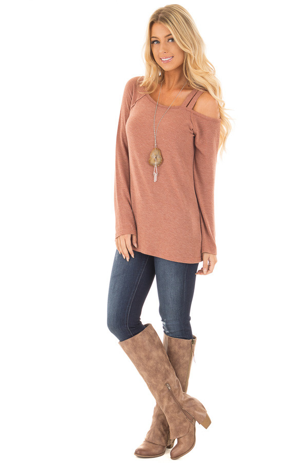 Cinnamon Long Sleeve Top with Double Strap Cold Shoulder front full body