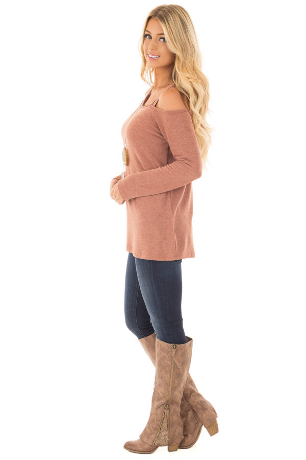 Cinnamon Long Sleeve Top with Double Strap Cold Shoulder side full body
