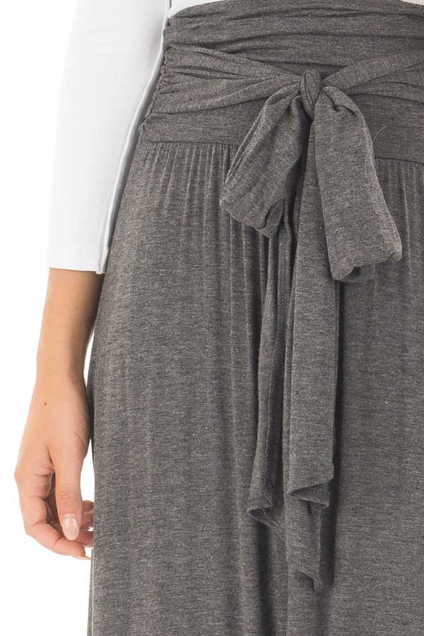 Charcoal Maxi Skirt with Waist Tie and Slit Detail detail